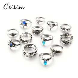 Wholesale gold plated knuckle rings - Retro Flower Antique Silver Color Rings For Women Vintage Geometric Pattern Crystal Knuckle Rings Party Bohemian Femme Jewelry 13 PCS Set