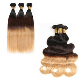 Wholesale top quality hair extensions - Brazilian Hair Body Wave straight 1b 4 27# Human Hair Weaves Extensions Malaysian Indian Peruvian Hair Bundles MOSTO Top Quality