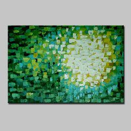 Peinture vert clair en Ligne-Green light Peinture à l'huile Mintura avec 100% peint à la main sur toile pour le salon - Toile moderne 6 taille non encadrée