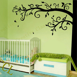 2019 grandi decalcomanie a muro per il vivaio Corner Tree Wall Decal Nursery Wall Decoration, Extra Large Tree Sticker Foto decalcomania appeso sconti grandi decalcomanie a muro per il vivaio