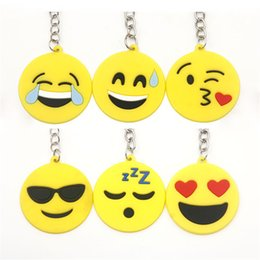 sale stuff toys Coupons - hot sale 2017 QQ Emoji Key Chains Small Keychain Emotion Yellow QQ Expression Stuffed PVC Doll Toy 6 design emoji pvc keyring