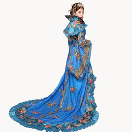 collants de ballet rose Promotion Designer de la marque New Women Noble Draggle-tail Dress reine des vêtements de princesse de la dynastie Tang anciens chinois effectuer des costumes