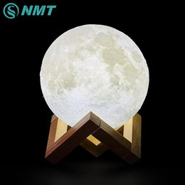 Wholesale Touch Lamps For Kids - Wholesale-3D Print LED Moon Light Touch Switch LED Bedroom Night Lamp Novelty Light for Baby Kids Children Christmas Home Decoration