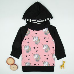Modelos lindos del bebé negro online-Modelos negros de manga larga Europa y Estados Unidos Cute Cartoon Unicorn Pony Cotton Sudaderas con capucha unisex para bebés