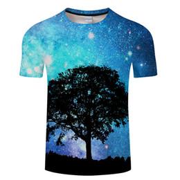2019 espaço da galáxia camiseta 2018 Mais Novo Espaço Galaxy T shirt Homens / Mulheres Harajuku Hip hop Marca T-shirt 3d Impressão Anoitecer Árvore Verão Tops Casual camiseta desconto espaço da galáxia camiseta
