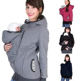 Abrigo de invierno embarazada online-S-2XL Baby Carrier Jacket Hoodie con capucha Winter Maternity Hoody Abrigo de abrigo para mujeres embarazadas Llevar ropa de embarazo para bebés