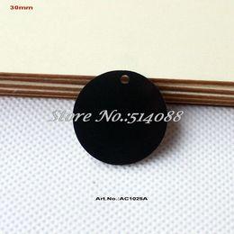 "Wholesale Wholesale Laser Cut Animals - Wholesale- (60pcs lot) 30mm Black Discs Acrylic Earrings Round Necklace Key Chain Ornaments One Hole Laser Cut 1.2"" -AC1025A"
