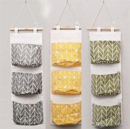 Sacs de rangement suspendus en Ligne-Tenture murale organisateur sacs coton lin porte-sac de rangement porte pendaison divers sacs divers sacs de tri 3 poches fournitures de maison