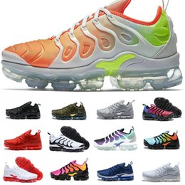 Wholesale men floral - 2018 New vapormax TN Plus Men Casual Shoes Olive In Metallic White Silver for Air Tn Vapormax off Pack Triple Black Requin Chaussures
