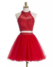 Vestido de duas peças de organza vermelha on-line-Mais recente Vermelho Curto Duas Peças Vestidos Homecoming 2018 Cristal Frisado Apliques A Linha de Cocktail de Formatura Vestido QC1234