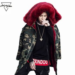 Wholesale mans fur hood - Aelfric Eden Men Parka Fur Collar Hood Army Green Long Coat Jacket Man Hooded Parka Fleece Winter Camouflage Hip Hop Outwear A01