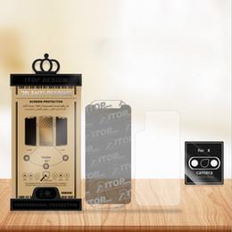 Etiqueta dianteira do vidro do iphone on-line-Para o iphone xs xr xx vidro temperado iphone x 8 protetor de tela de três em um (frente filme + filme de volta + adesivo da lente)