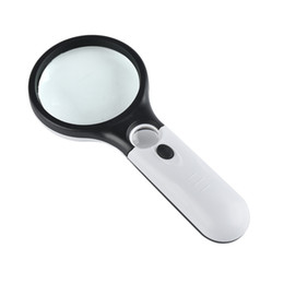 Wholesale reading magnifier glass - Racket Shape Magnifying Glass Double Lens With LED Light Reading Glasses Plastic Handle Hand Held Magnifier White Black 6 7lc B