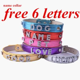 Wholesale Autumn Color Names - DIY Customized Name Dog Collar Fashion Leather Collar For Dogs FREE 6 LETTERS Dog Necklace Pet Supplies Red Pink Purple Gold