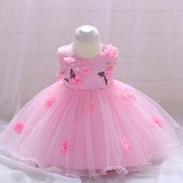 Migliori vestiti da compleanno delle ragazze online-Nuovo vestito di stampa farfalla BABY GIRLS Primo vestito di compleanno di luna piena vestito da fiore tridimensionale dei bambini vestito principessa migliore prezzo
