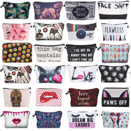 cute korean travel bag Coupons - 3D Printing Makeup Bags With Multicolor Pattern Cute Cosmetics Pouchs For Travel Ladies Pouch Women Cosmetic Bag 32styles
