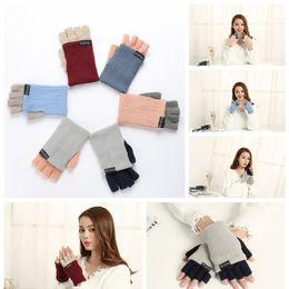 Wholesale Arm Warmer Fingerless Long Gloves - High quality Winter Unisex Arm Warmer Elbow Long Fingerless Mitten Knitted Soft Gloves 6 Colors YYA1100
