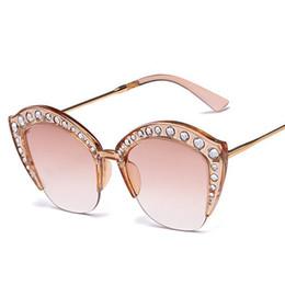 Katzenaugenrahmen rhinestones online-Vierzehn Stil Cat Eye Sonnenbrille Frauen Strass Halbrahmen Sexy Sonnenbrille Luxus Hot Designer Damen Shades G161