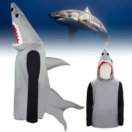 Wholesale Free Comedy - Animal Unisex Jaws Shark Attack Mascot Fish Fancy Dress Clothes for Adults Comedy Ocean Themed Events Beach Celebrate Halloween