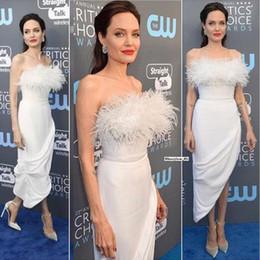 Wholesale Black Prom Hair - Evening Wear Dresse 2018 Angelina Jolie Ostrich hair Tassel Feather Women Formal Dress Sheath Prom Gowns Celebrity Dress Robe De Soiree