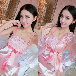 b7e8c6575d Summer Women Robe   Gown Sets Lace Nighties Sexy Night Dress Bathrobe Satin  Silk Sleepwear Pyjama Set Lingerie Purple Pink