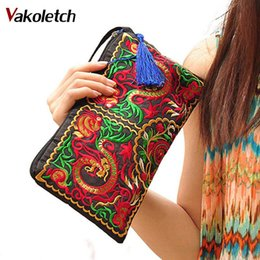 Wholesale Chinese Wholesale Clutch Bags - 2018 Chinese Ethnic Style clutch wallet New Women Bag Handbag Purse National Retro Embroidered Flower Phone Change Coin M7-10