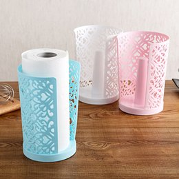 Wholesale Toilet Paper Shelf Holder - PP plastic Hollow vertical paper napkin storage rack desk base organizer storage shelf roll toilet paper holder dispenser