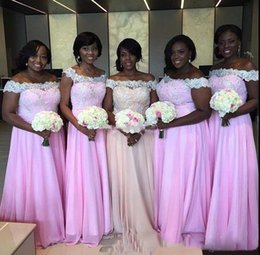 Wholesale Pa Lights - African Arabic Nigeria Girls Bridesmaid Group Dresses 2018 A Line Plus Size Off Shoulder Appliques Long Chiffon Maid Of Honor Cheap Gowns Pa