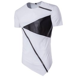 Wholesale mens split shorts - Summer Bodybuilding Fitness Mens Irregular hem Short Sleeve T-shirt Personalized Zipper Shirt Swag Irregular Hem Hipster Hip Hop T-Shirt