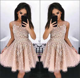 mesh dress crystals Promo Codes - 2018 New Sheer Mesh Top Lace Homecoming Dresses Crew Neck Applique Beaded Floral Knee Length Mini Party Cocktail Prom Dresses BA8138