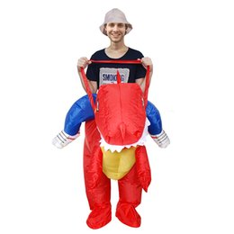 Wholesale Good Mascots - Party Red Inflatable Dinosaur Costume Adult Kids Suit Blowup Dragon Ride Outfit Good Quality Halloween Mascot Dress LJ-002