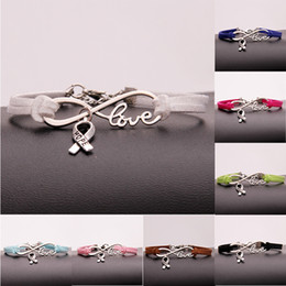 Wholesale Antique White Ribbon - New Antique Silver Hope Ribbon Bowknot Charms Infinity Love Multicolor Leather Bracelet For Women Men Jewelry Gifts Accessories