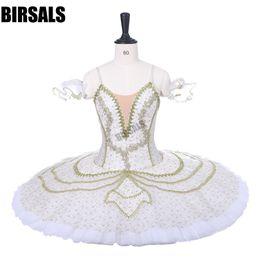 Tutus blanco para mujeres online-Mujeres Adulto Ballet Profesional Tutu BT9210 Oro Blanco Durmiendo Belleza Ballet Etapa Trajes Cascanueces Panqueque Tutus