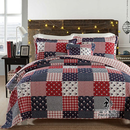 Wholesale Air Conditioned Bedding Quilts - abbiemao plaid patchwork bedspread air conditioning quilt hand made cotton blanket soft feeling bed cover colcha three sets