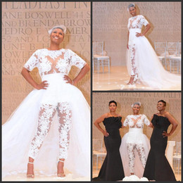 see through lace jumpsuits Promo Codes - 2019 New Jumpsuit Beach Wedding Dresses With Detachable Train See Through Lace Bodice Plus Size Nigerian African Bridal Gowns 2018 vestido