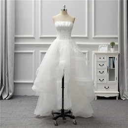 Wholesale Tulle High Low Bridal Skirt - 2018 White High Low Bridal Gowns Strapless Tiered Ruffle With Lace Applique Wedding Gowns Back Lace-Up Custom Made Wedding Dresses
