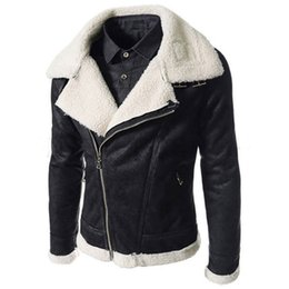 Wholesale cashmere overcoats men - Wholesale- England Style Winter Fur Leather Jackets Fur Overcoats Vintage Men Leather Suede Jacket For Men's Suede Coat Free Shipping S2721