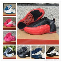 Wholesale Hottest Game Online - Hot air 12 Low mens basketball shoes wool mens sneaker Black Nylon Blue Suede discount shoes flu game french blue sports shoes online