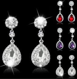 Wholesale Brown Crystal Earrings - Free Shipping Shining Fashion Crystals Earrings Silver Rhinestones Long Drop Earring For Women Bridal Jewelry 5 Colors Wedding Gift