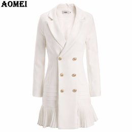 Roupa de escritório inverno on-line-Nova Moda Terno Mulheres Blazer Workwear Branco Com Plissado Escritório Senhoras Longas Blaser Roupas Outono Botão de Ouro Primavera Inverno Top