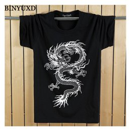 Wholesale funny vintage shirts - T-Shirt Man's 3D Cotton Funny Chinese Vintage Dragon Short Sleeve Summer Style Slim Brand Clothing Plus Size