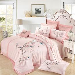 Wholesale royal duvet - 4 6pcs 100% Egypt Cotton Silky Luxury Royal Bedding set Queen King Embroidery Korean Bed set Duvet cover Bed linen Pillowcases