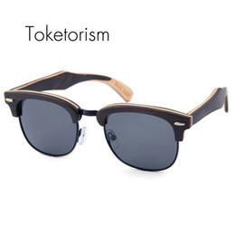 Wholesale Occhiali Da Sole Sunglasses - Toketorism Bithday gift wooden sunglasses men's polarized women half-frame restoring ancient ways wood occhiali da sole 6303