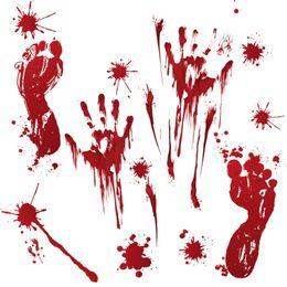 виниловый виниловый винил Скидка Хэллоуин стикер стены ужас дверь стикер окна окна стекло орнамент тыквы след крови отпечаток руки стикер Хэллоуин украшения