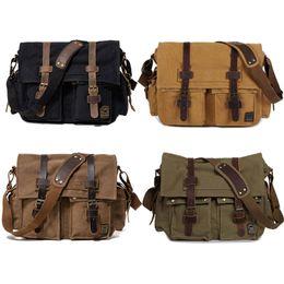Wholesale Men Work Bags - Men's Satchel Messenger Canvas Bag Vintage Shoulder Leather School Sling Rucksack Crossbody Backpack Tote For Gym Travel Work Laptop G170S