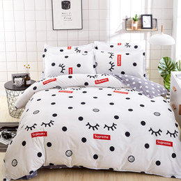 Wholesale Queen Washing Machine - 2018 New White Color Dots Printed 4pcs Cotton Bedding Set  Duvet Cover Set