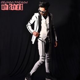 72ce2c7081 Male white patchwork suit jacket vest pants costumes singer dancer dress  performance stage show nightclub chothing outdoors fashion slim we