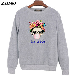 senhoras menina hoodies Desconto Carismático Kahlo Bonito dos desenhos animados da arte Camisolas de Verão Bonito Mulheres Camisolas Hoodies Tops menina Ladies casual WY48