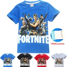 Wholesale spring shirts for girls - 4 Color Boys Girls fortnite t shirt 2018 New Children Game Cartoon cotton Short sleeve t shirt Baby kids clothing for 6~14years B11