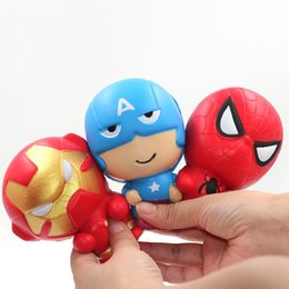 Brincos de cinta para homens on-line-Lento Rising Brinquedos Squishy simulação PU Brinquedos Os Vingadores Hulk Capitão América Homem De Ferro Homem Aranha Alivia Stress Tiras Do Telefone Móvel